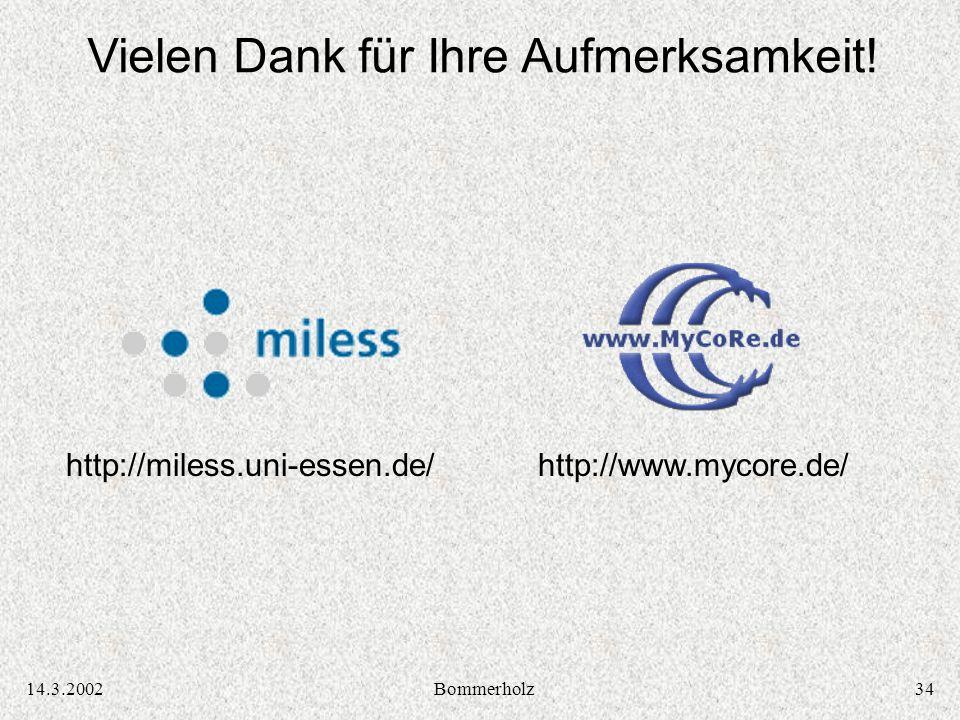 3414.3.2002Bommerholz Vielen Dank für Ihre Aufmerksamkeit! http://miless.uni-essen.de/http://www.mycore.de/