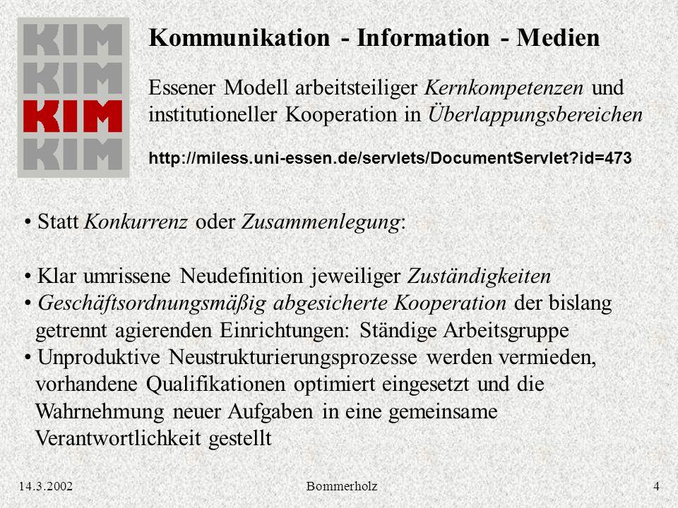 414.3.2002Bommerholz Kommunikation - Information - Medien Essener Modell arbeitsteiliger Kernkompetenzen und institutioneller Kooperation in Überlappu