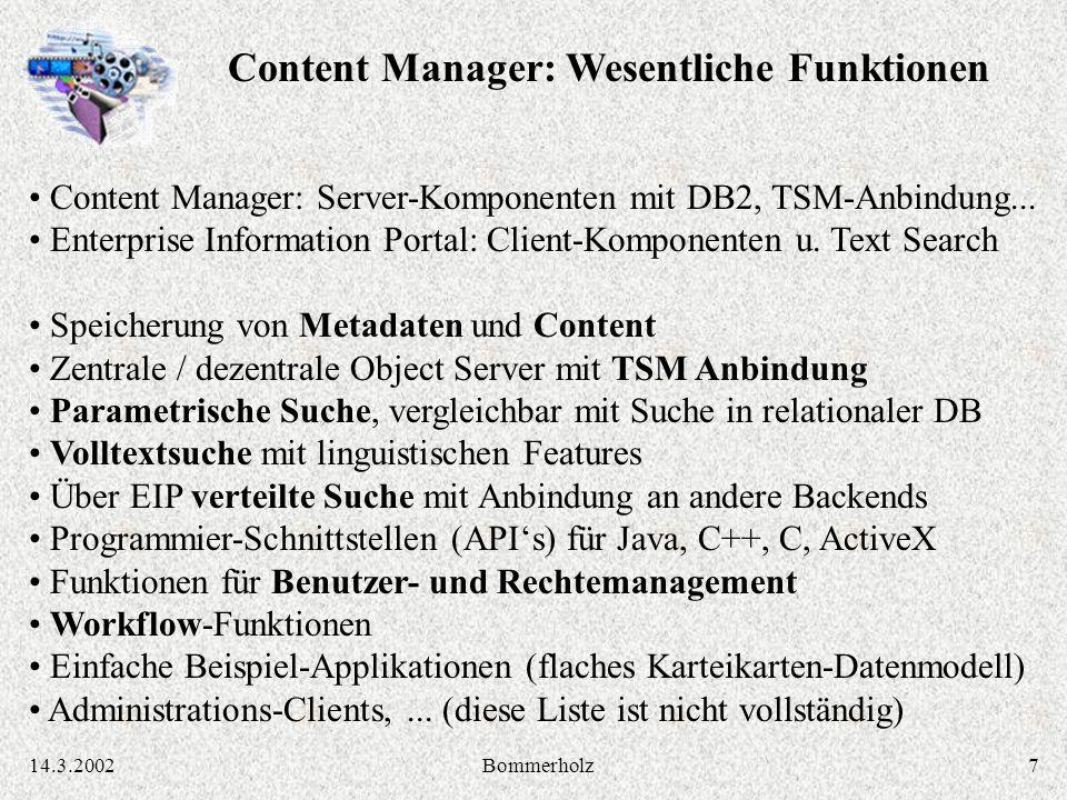 814.3.2002Bommerholz MILESS Java Persistenz-Layer: MILESS Objekte erzeugen, lesen, ändern, löschen, suchen IBM Enterprise Information Portal / Content Manager API (C, C++, Java,...) MILESS Datenmodell Java-Klassen: Dokumente Personen Klassifikationen Kategorien Derivate Dateien und ihre Beziehungen untereinander MILESS Java Servlets: Ablaufsteuerung, Generierung von HTML-Seiten, Login MILESS Autoren-GUI (Java Applet): Inhalte einbringen und bearbeiten MILESS HTML-Seiten: Inhalte suchen und anzeigen, durch den Bestand navigieren CMCM WEB-SRVWEB-SRV BROWSERBROWSER MILESS Software-Architektur