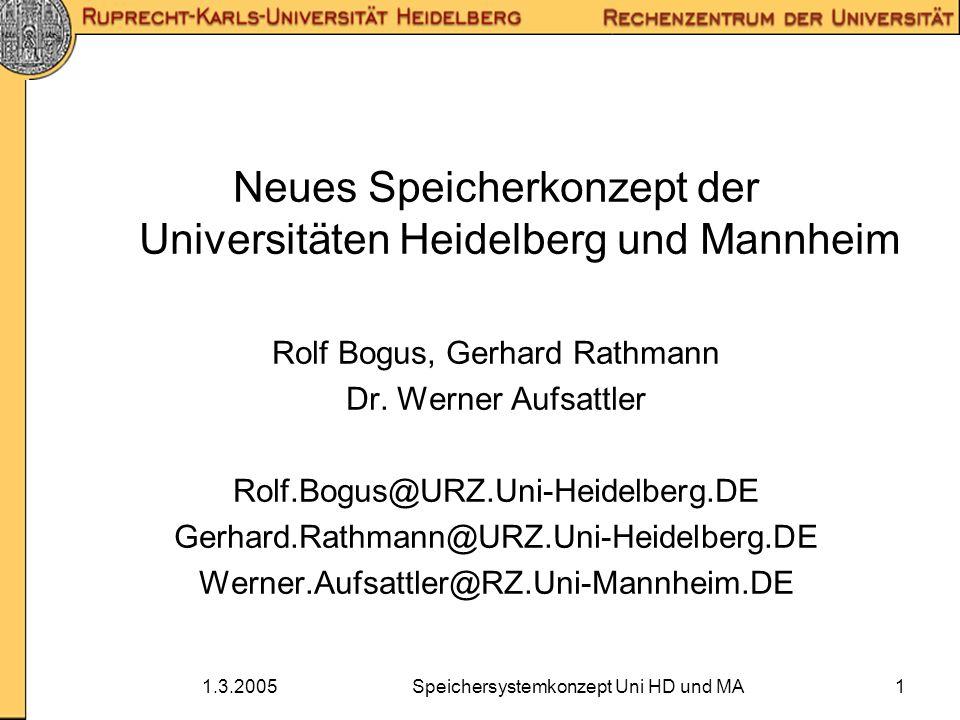 1.3.2005Speichersystemkonzept Uni HD und MA1 Neues Speicherkonzept der Universitäten Heidelberg und Mannheim Rolf Bogus, Gerhard Rathmann Dr. Werner A