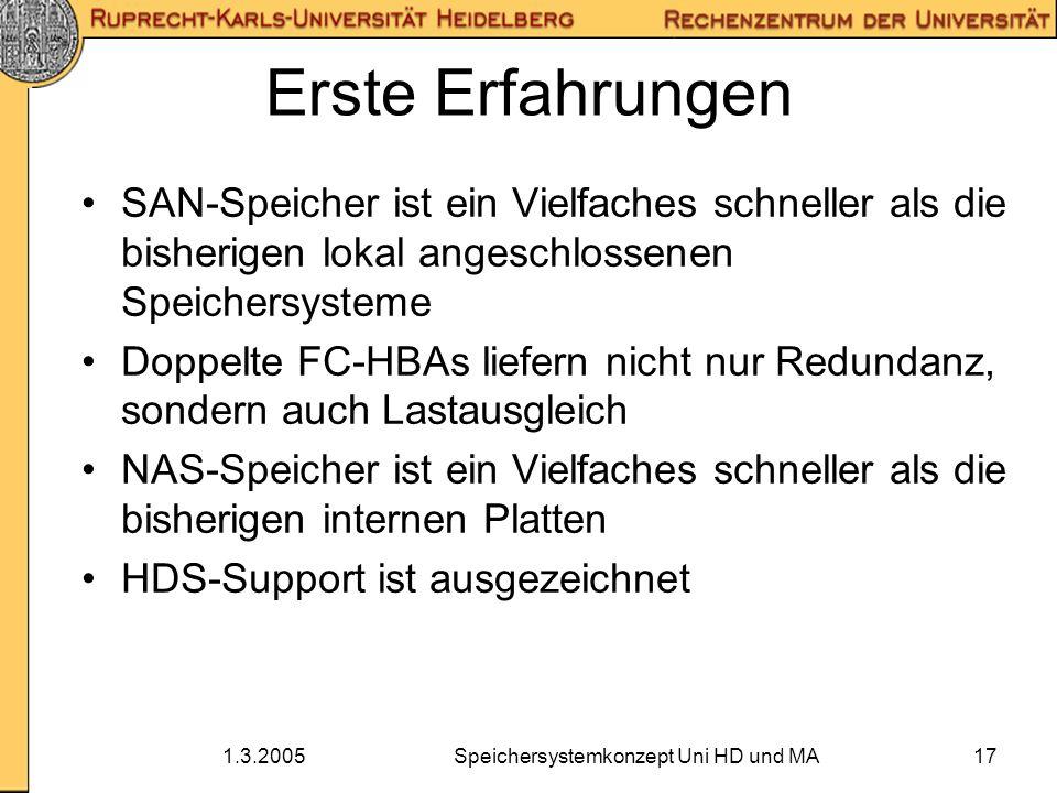 1.3.2005Speichersystemkonzept Uni HD und MA17 Erste Erfahrungen SAN-Speicher ist ein Vielfaches schneller als die bisherigen lokal angeschlossenen Spe