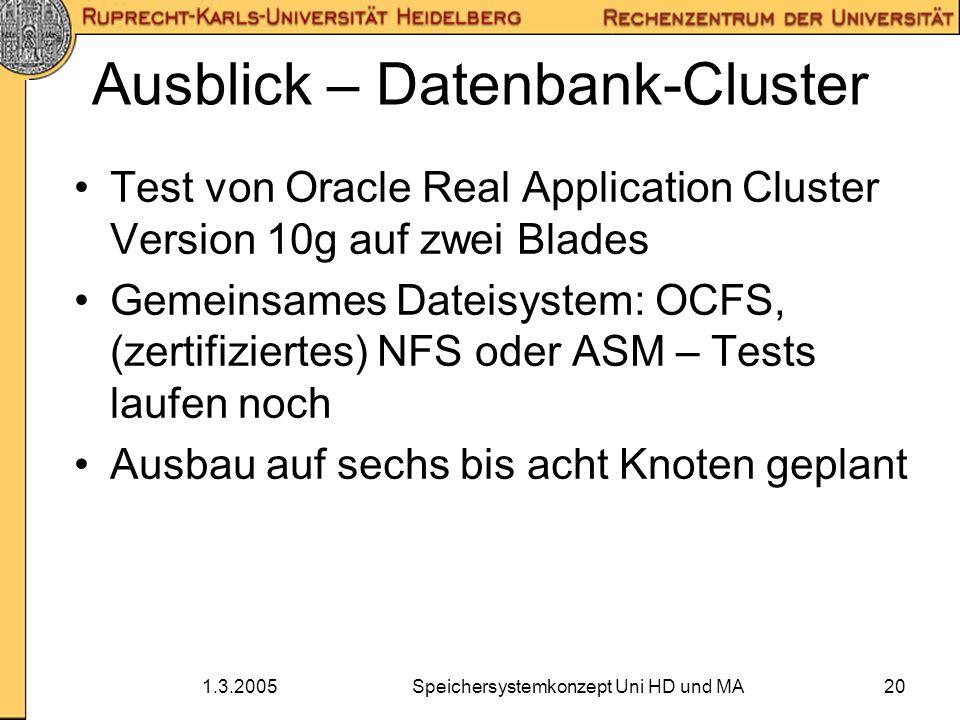 1.3.2005Speichersystemkonzept Uni HD und MA20 Ausblick – Datenbank-Cluster Test von Oracle Real Application Cluster Version 10g auf zwei Blades Gemein