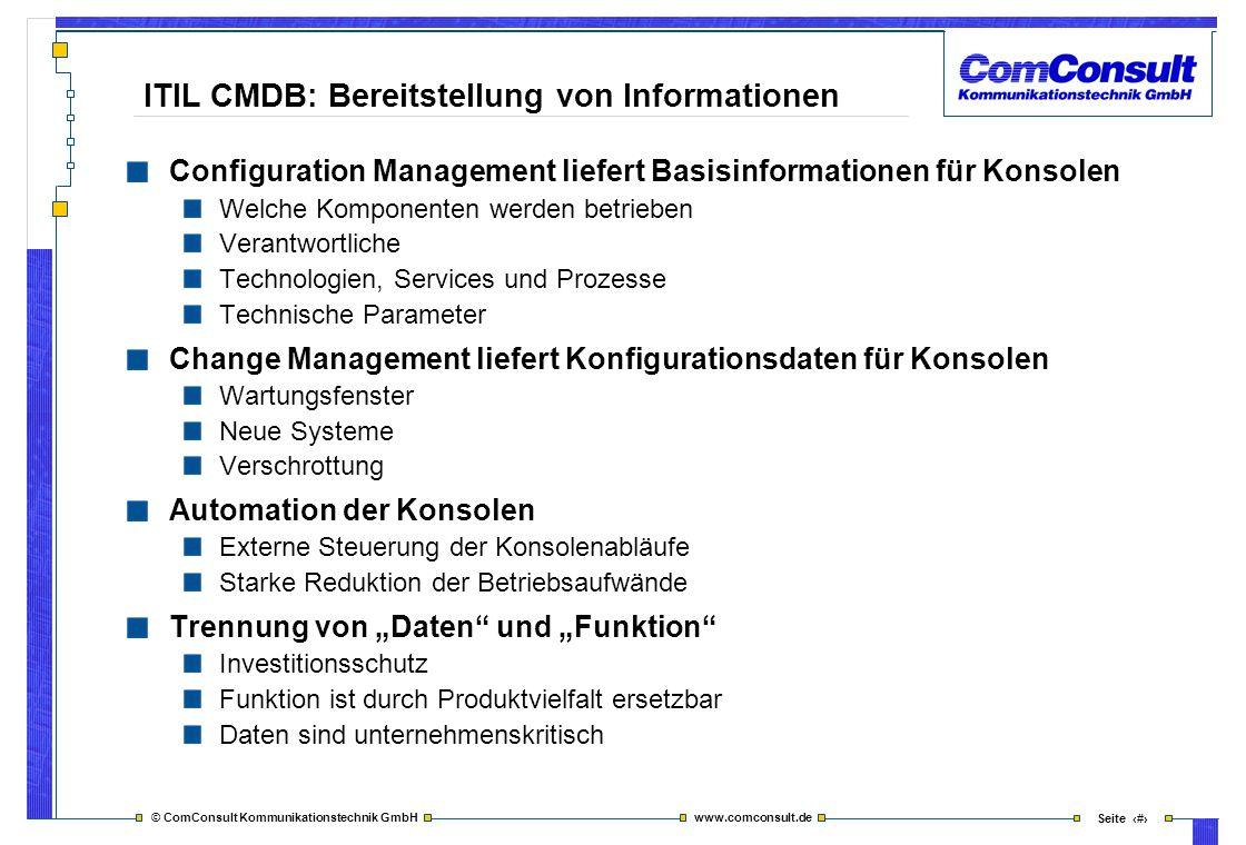 © ComConsult Kommunikationstechnik GmbH www.comconsult.de Seite 11 Configuration Management liefert Basisinformationen für Konsolen Welche Komponenten