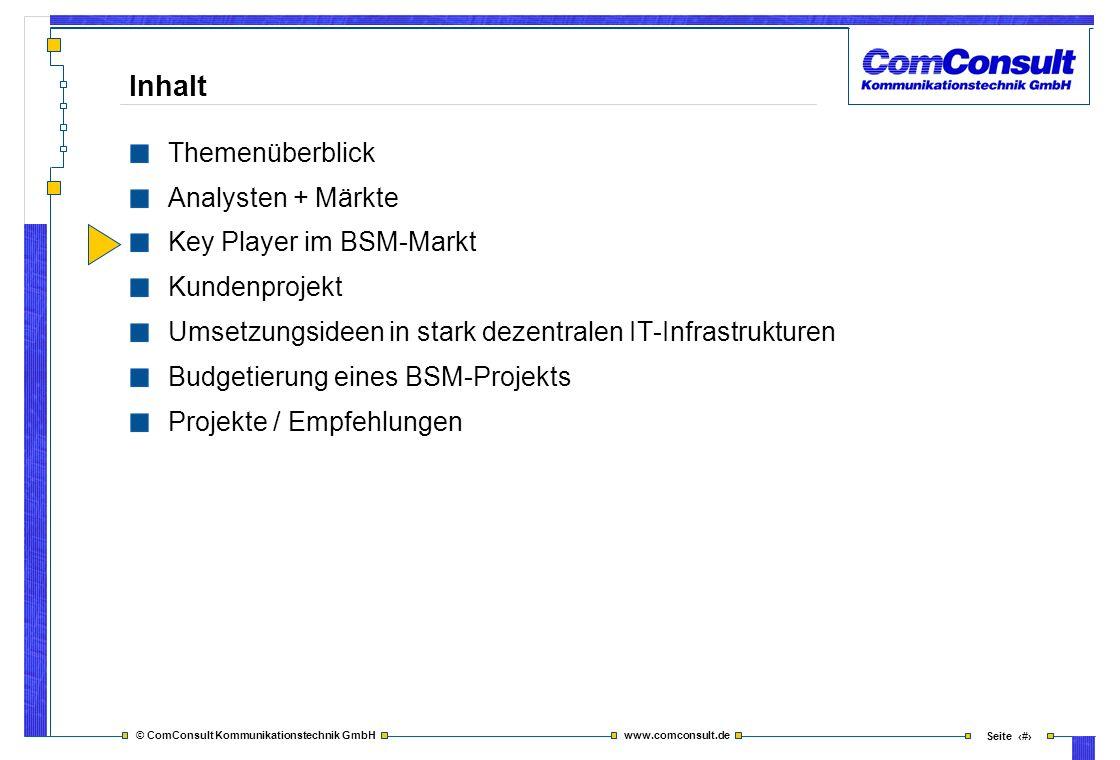 © ComConsult Kommunikationstechnik GmbH www.comconsult.de Seite 19 Inhalt Themenüberblick Analysten + Märkte Key Player im BSM-Markt Kundenprojekt Ums