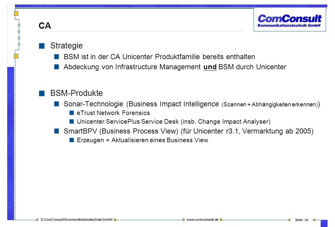 © ComConsult Kommunikationstechnik GmbH www.comconsult.de Seite 23 CA Strategie BSM ist in der CA Unicenter Produktfamilie bereits enthalten Abdeckung