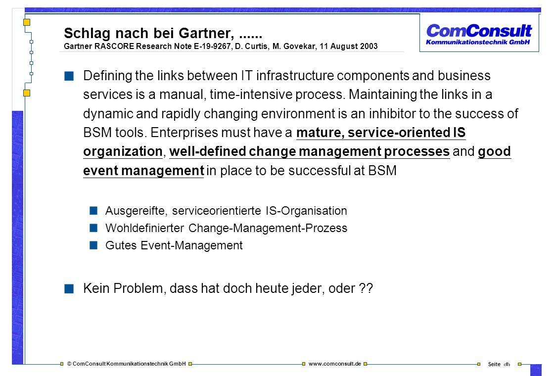 © ComConsult Kommunikationstechnik GmbH www.comconsult.de Seite 3 Schlag nach bei Gartner,...... Gartner RASCORE Research Note E-19-9267, D. Curtis, M