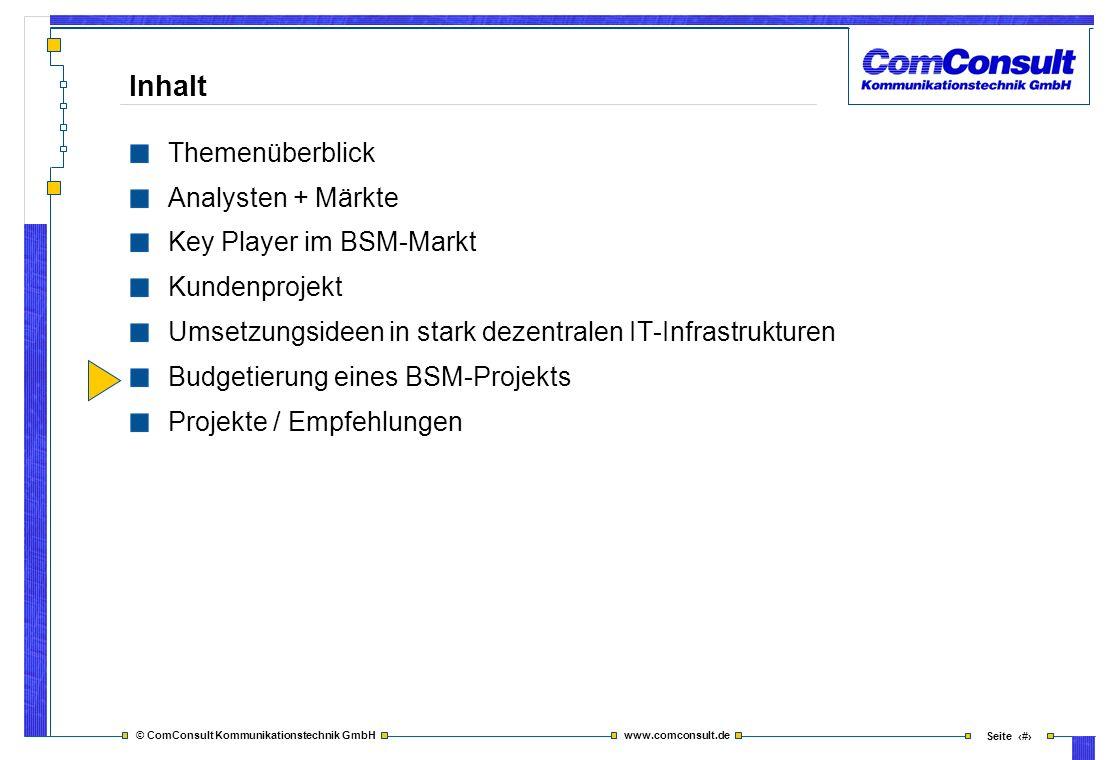 © ComConsult Kommunikationstechnik GmbH www.comconsult.de Seite 42 Inhalt Themenüberblick Analysten + Märkte Key Player im BSM-Markt Kundenprojekt Ums