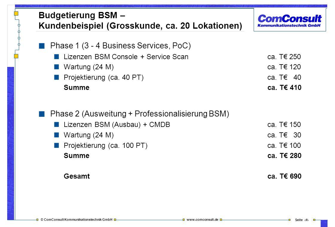 © ComConsult Kommunikationstechnik GmbH www.comconsult.de Seite 43 Budgetierung BSM – Kundenbeispiel (Grosskunde, ca. 20 Lokationen) Phase 1 (3 - 4 Bu