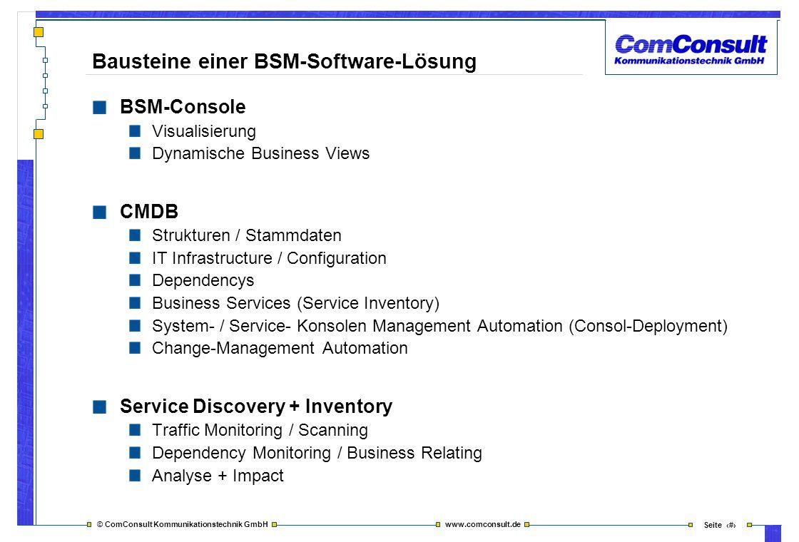 © ComConsult Kommunikationstechnik GmbH www.comconsult.de Seite 7 Bausteine einer BSM-Software-Lösung BSM-Console Visualisierung Dynamische Business V