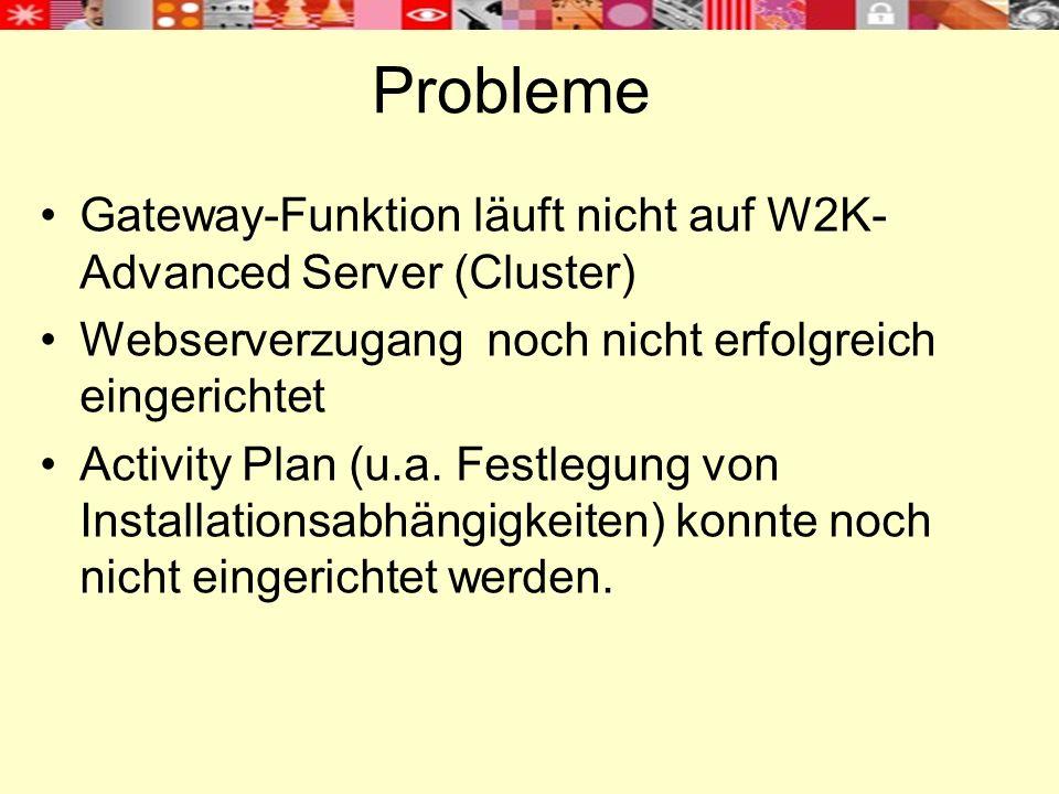 Probleme Gateway-Funktion läuft nicht auf W2K- Advanced Server (Cluster) Webserverzugang noch nicht erfolgreich eingerichtet Activity Plan (u.a.