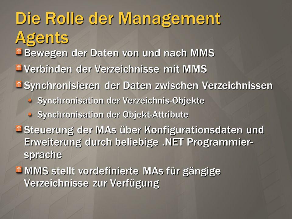 Die Rolle der Management Agents Bewegen der Daten von und nach MMS Verbínden der Verzeichnisse mit MMS Synchronisieren der Daten zwischen Verzeichniss