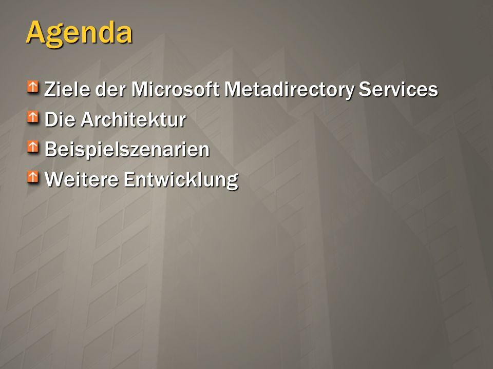Architektur MMS läuft als NT service Management Agents (MA) verbinden die Systeme Metadirectory Daten werden im SQL Server gehalten Admin-Client verbindet sich via DCOM MA Controller iPlanetMAiPlanetMA ADMAADMA OracleMAOracleMA …MA…MA MMS Service AD/E2KAD/E2K iPlanetiPlanet OracleOracle MMS Admin Client DCOM MMSStoreMMSStore