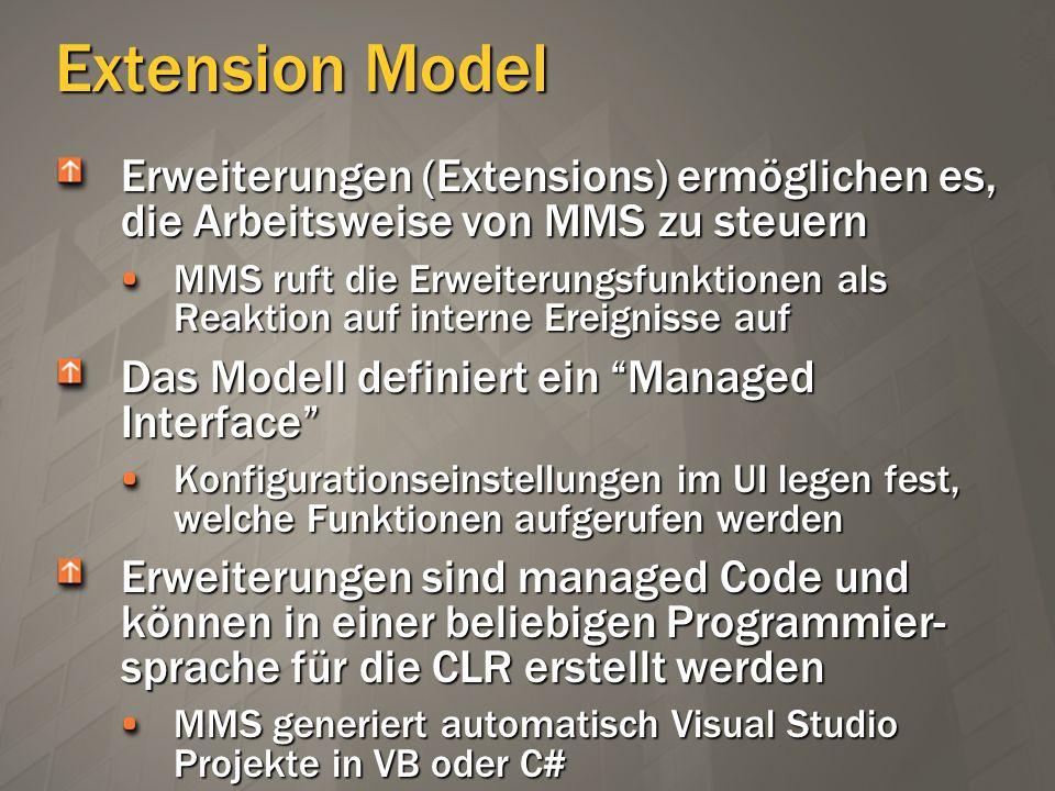 Extension Model Erweiterungen (Extensions) ermöglichen es, die Arbeitsweise von MMS zu steuern MMS ruft die Erweiterungsfunktionen als Reaktion auf in