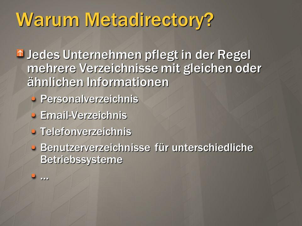 Warum Metadirectory? Jedes Unternehmen pflegt in der Regel mehrere Verzeichnisse mit gleichen oder ähnlichen Informationen PersonalverzeichnisEmail-Ve