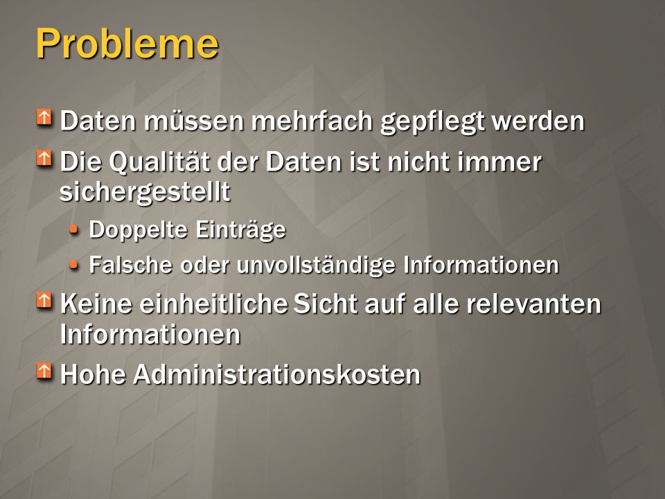 Geplante Management Agents AD/Exchange 2000 ADAMiPlanetSQLOracle DSML 2.0 LDAP Directory Interchange Format (LDIF) Delimited Text Fixed-Width Text Attribute-Value Pair Text NT4 Exchange 5.5 Lotus Notes Novell eDirectory (RTM)