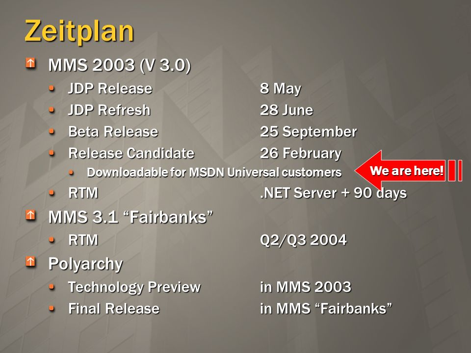 Zeitplan MMS 2003 (V 3.0) JDP Release8 May JDP Refresh28 June Beta Release25 September Release Candidate26 February Downloadable for MSDN Universal cu