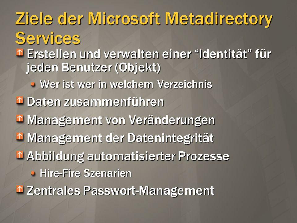 Ziele der Microsoft Metadirectory Services Verbessern der Datenqualität Vereinfachung des Zugriffs Senkung der Administrationskosten Kein Ziel der Metadirectory Services : Single-Sign-On