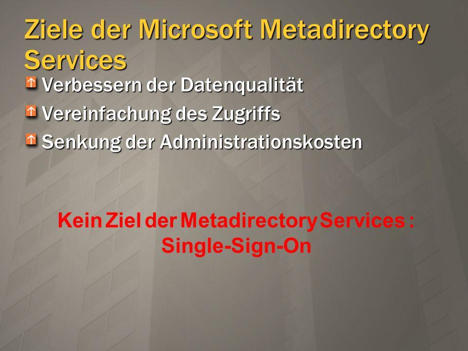 Metadirectory Konzepte Connected Directory Quelle und / oder Ziel der zu synchronisierend en Objekte und Attribute Connector Space (CS) Staging area für ein- und ausgehende Daten Metaverse (MV) Zentraler Speicher der Identitäts- informationen iPlanetiPlanet OracleOracle SQLSQL Exchange5.5Exchange5.5 ConnectedDirectories Metaverse User ConnectorSpace