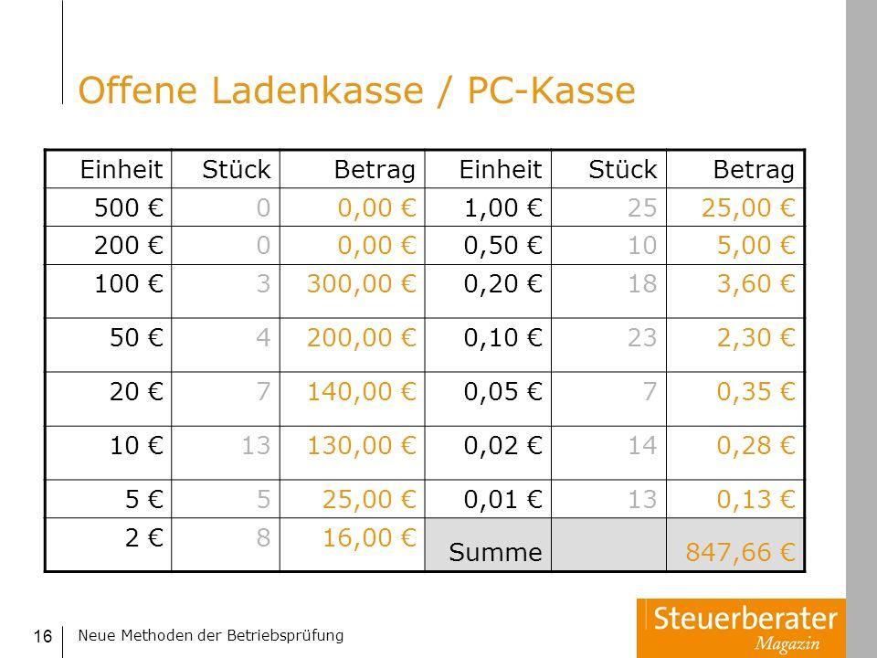 Neue Methoden der Betriebsprüfung 16 Offene Ladenkasse / PC-Kasse EinheitStückBetragEinheitStückBetrag 500 00,00 1,00 2525,00 200 00,00 0,50 105,00 10