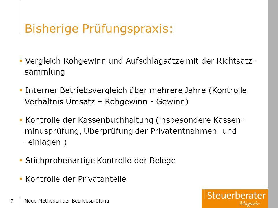 Neue Methoden der Betriebsprüfung 3 Zeitintensiv (z.B.