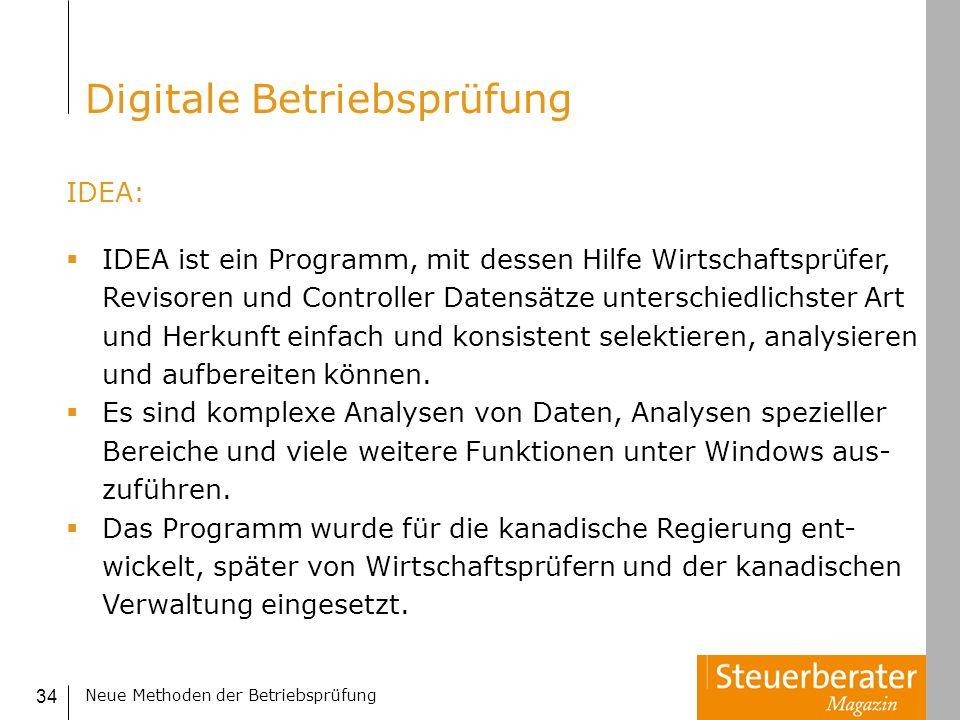 Neue Methoden der Betriebsprüfung 34 IDEA: IDEA ist ein Programm, mit dessen Hilfe Wirtschaftsprüfer, Revisoren und Controller Datensätze unterschiedl