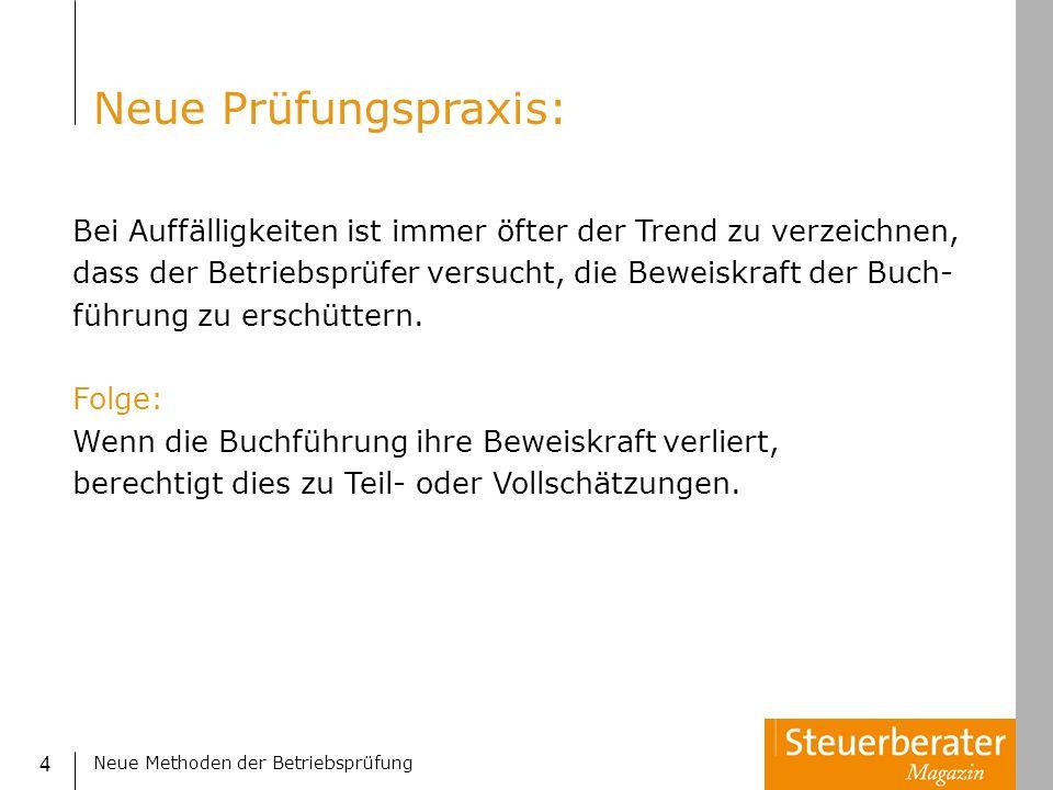 Neue Methoden der Betriebsprüfung 45 Benford Analyse: 1.