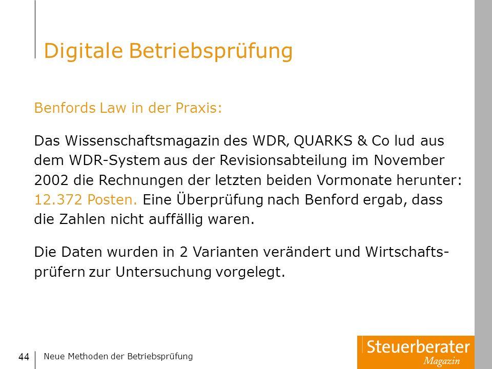 Neue Methoden der Betriebsprüfung 44 Benfords Law in der Praxis: Das Wissenschaftsmagazin des WDR QUARKS & Co lud aus dem WDR-System aus der Revisions