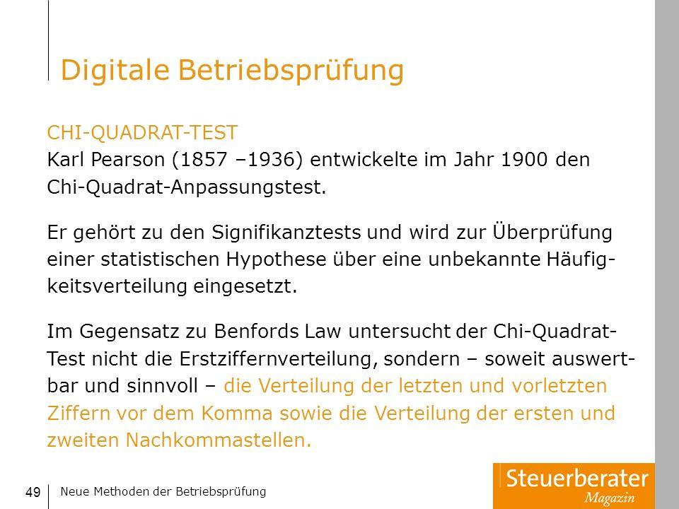 Neue Methoden der Betriebsprüfung 49 CHI-QUADRAT-TEST Karl Pearson (1857 –1936) entwickelte im Jahr 1900 den Chi-Quadrat-Anpassungstest. Er gehört zu