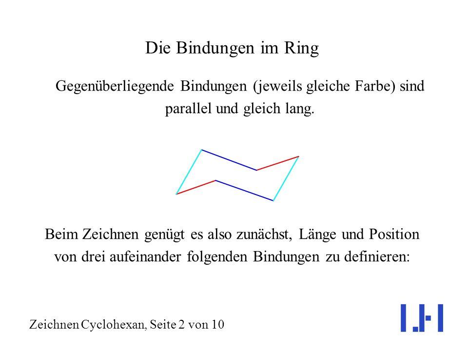 Geometrisch korrektes Zeichnen von Cyclohexanringen mit Substituenten Cyclohexan, C 6 H 12, bevorzugt die Sesselkonformation (rechts). Jedes Kohlensto