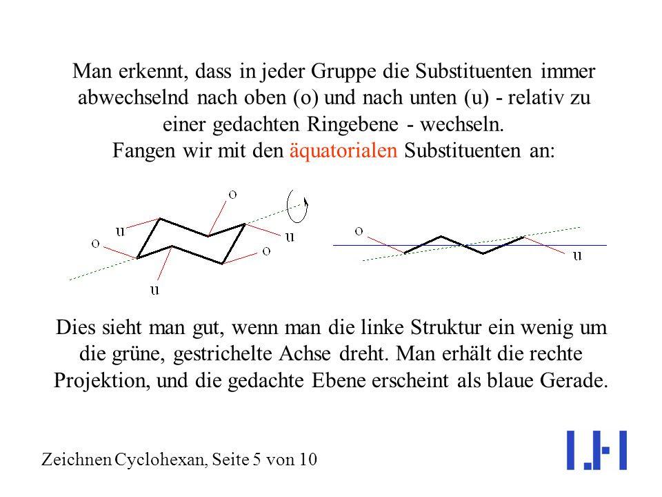 Jedes Kohlenstoffatom trägt zwei Substituenten (im Cyclohexan selbst: zwei Wasserstoffatome); insgesamt gibt es also 12. Diese lassen sich in zwei Gru