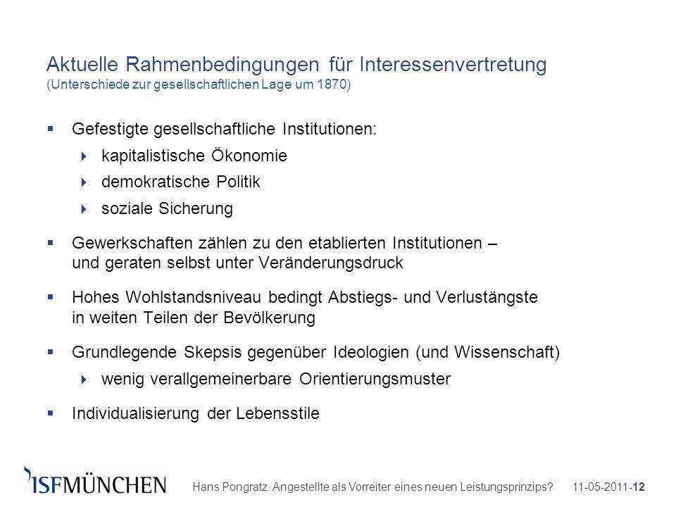 11-05-2011-12Hans Pongratz: Angestellte als Vorreiter eines neuen Leistungsprinzips? Aktuelle Rahmenbedingungen für Interessenvertretung (Unterschiede