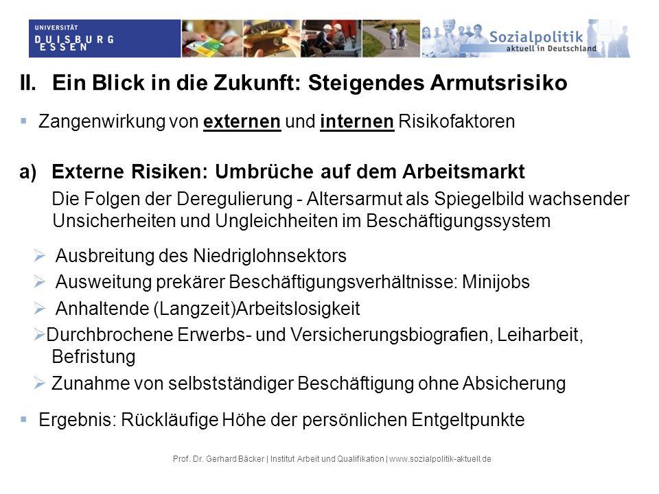 Prof. Dr. Gerhard Bäcker | Institut Arbeit und Qualifikation | www.sozialpolitik-aktuell.de II.Ein Blick in die Zukunft: Steigendes Armutsrisiko Zange