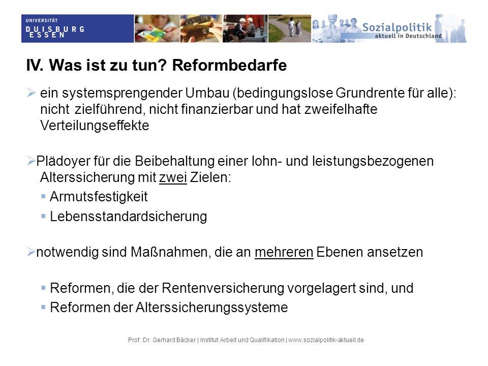 Prof. Dr. Gerhard Bäcker | Institut Arbeit und Qualifikation | www.sozialpolitik-aktuell.de IV. Was ist zu tun? Reformbedarfe ein systemsprengender Um