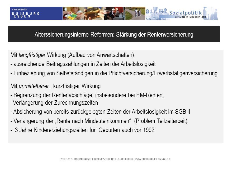 Prof. Dr. Gerhard Bäcker | Institut Arbeit und Qualifikation | www.sozialpolitik-aktuell.de Alterssicherungsinterne Reformen: Stärkung der Rentenversi