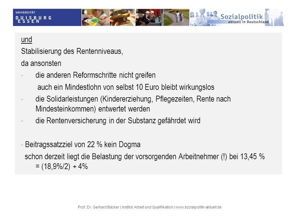 Prof. Dr. Gerhard Bäcker | Institut Arbeit und Qualifikation | www.sozialpolitik-aktuell.de und Stabilisierung des Rentenniveaus, da ansonsten -die an