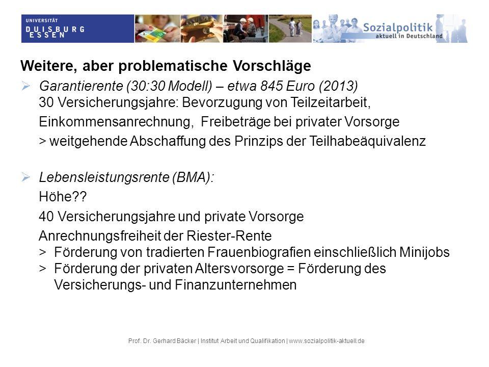 Prof. Dr. Gerhard Bäcker | Institut Arbeit und Qualifikation | www.sozialpolitik-aktuell.de Weitere, aber problematische Vorschläge Garantierente (30:
