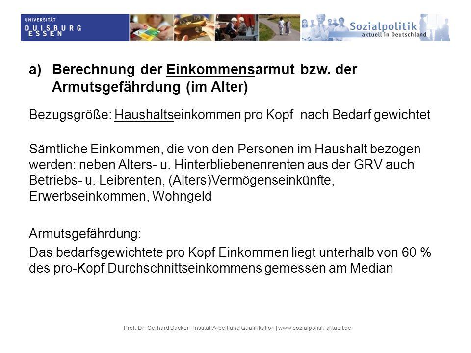 Prof. Dr. Gerhard Bäcker | Institut Arbeit und Qualifikation | www.sozialpolitik-aktuell.de a) Berechnung der Einkommensarmut bzw. der Armutsgefährdun