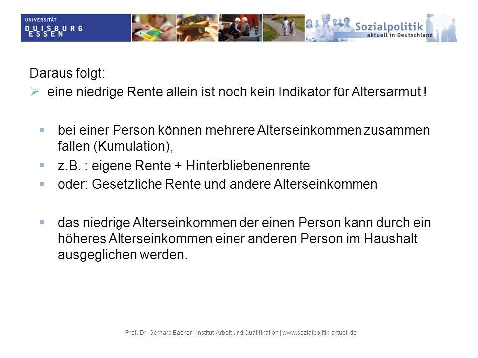 Prof. Dr. Gerhard Bäcker | Institut Arbeit und Qualifikation | www.sozialpolitik-aktuell.de Daraus folgt: eine niedrige Rente allein ist noch kein Ind