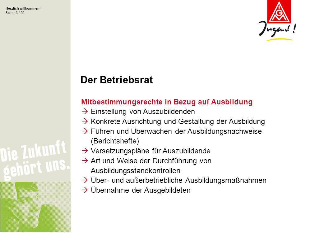 Herzlich willkommen! Seite 13 / 29 Mitbestimmungsrechte in Bezug auf Ausbildung Einstellung von Auszubildenden Konkrete Ausrichtung und Gestaltung der