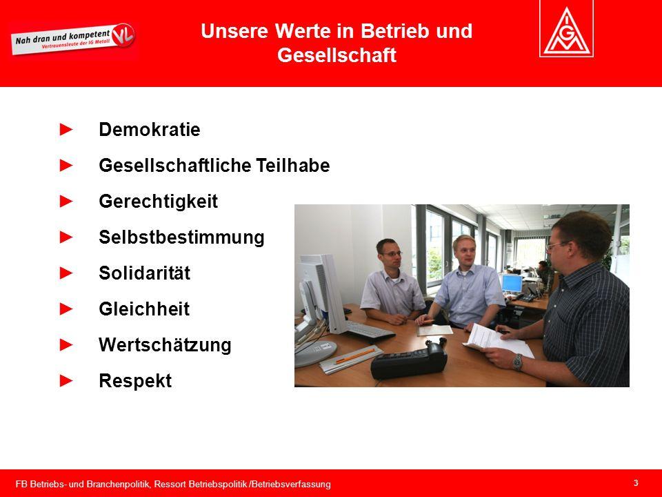 FB Betriebs- und Branchenpolitik, Ressort Betriebspolitik /Betriebsverfassung 3 Unsere Werte in Betrieb und Gesellschaft Demokratie Gesellschaftliche