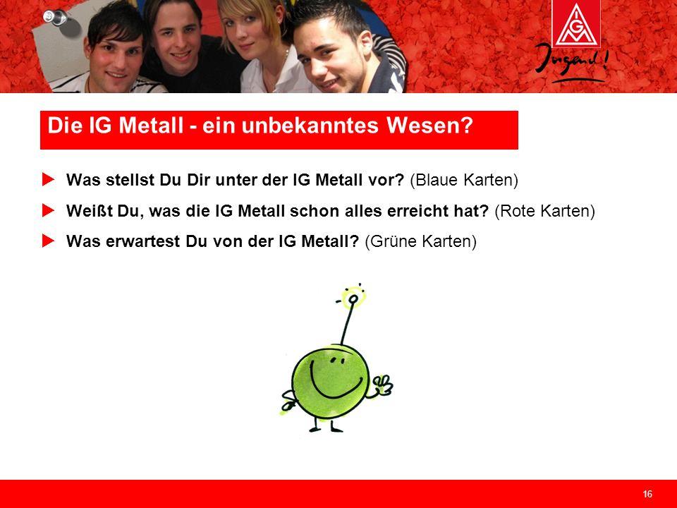 16 Die IG Metall - ein unbekanntes Wesen? Was stellst Du Dir unter der IG Metall vor? (Blaue Karten) Weißt Du, was die IG Metall schon alles erreicht