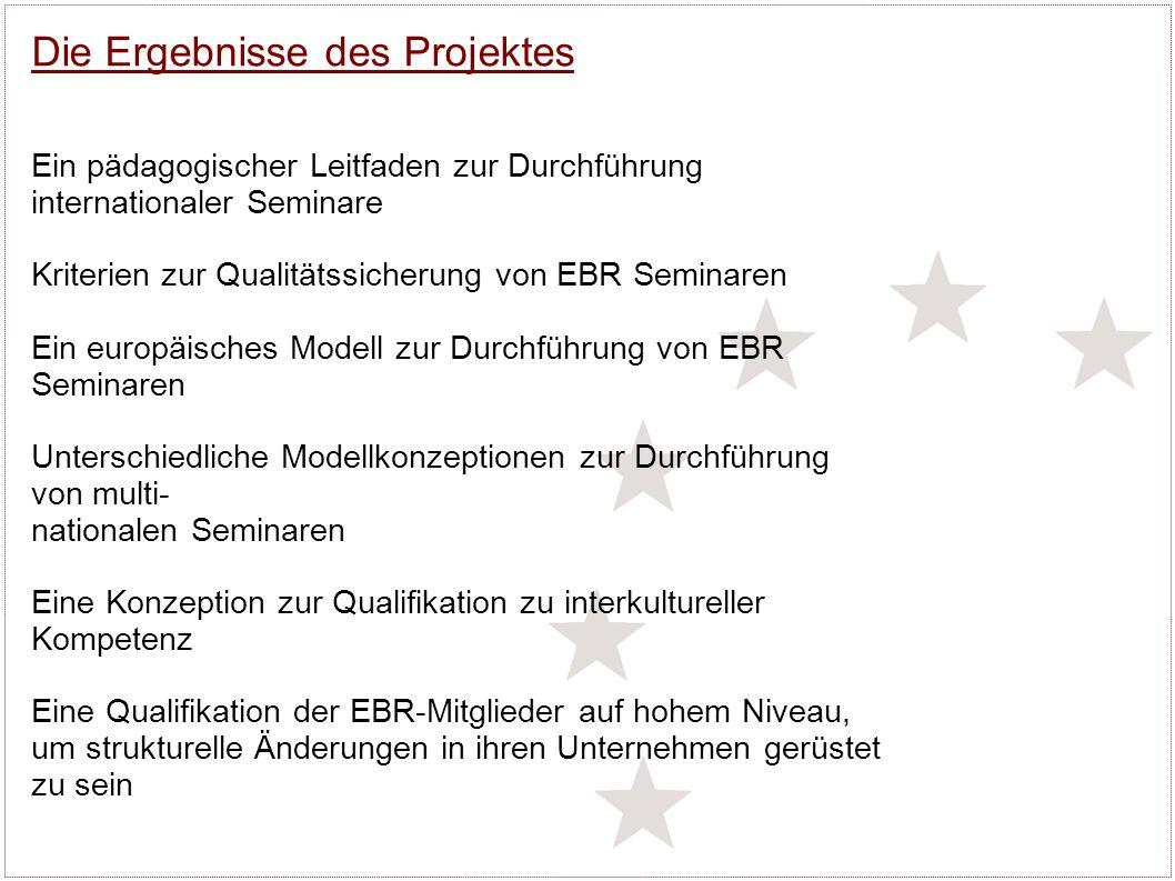 Die Ergebnisse des Projektes Ein pädagogischer Leitfaden zur Durchführung internationaler Seminare Kriterien zur Qualitätssicherung von EBR Seminaren Ein europäisches Modell zur Durchführung von EBR Seminaren Unterschiedliche Modellkonzeptionen zur Durchführung von multi- nationalen Seminaren Eine Konzeption zur Qualifikation zu interkultureller Kompetenz Eine Qualifikation der EBR-Mitglieder auf hohem Niveau, um strukturelle Änderungen in ihren Unternehmen gerüstet zu sein
