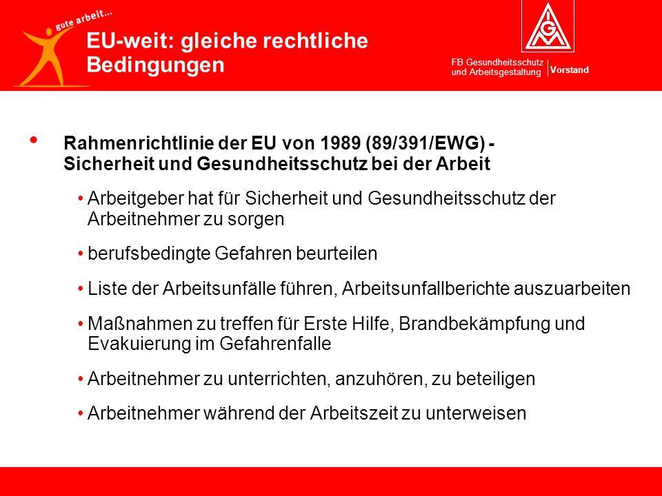 Vorstand FB Gesundheitsschutz und Arbeitsgestaltung Rahmenrichtlinie der EU von 1989 (89/391/EWG) - Sicherheit und Gesundheitsschutz bei der Arbeit Ar