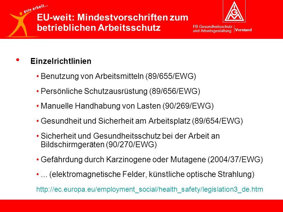 Vorstand FB Gesundheitsschutz und Arbeitsgestaltung Einzelrichtlinien Benutzung von Arbeitsmitteln (89/655/EWG) Persönliche Schutzausrüstung (89/656/E