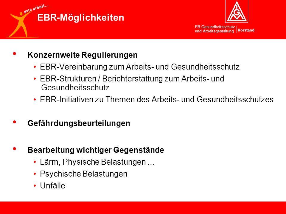 Vorstand FB Gesundheitsschutz und Arbeitsgestaltung Konzernweite Regulierungen EBR-Vereinbarung zum Arbeits- und Gesundheitsschutz EBR-Strukturen / Be