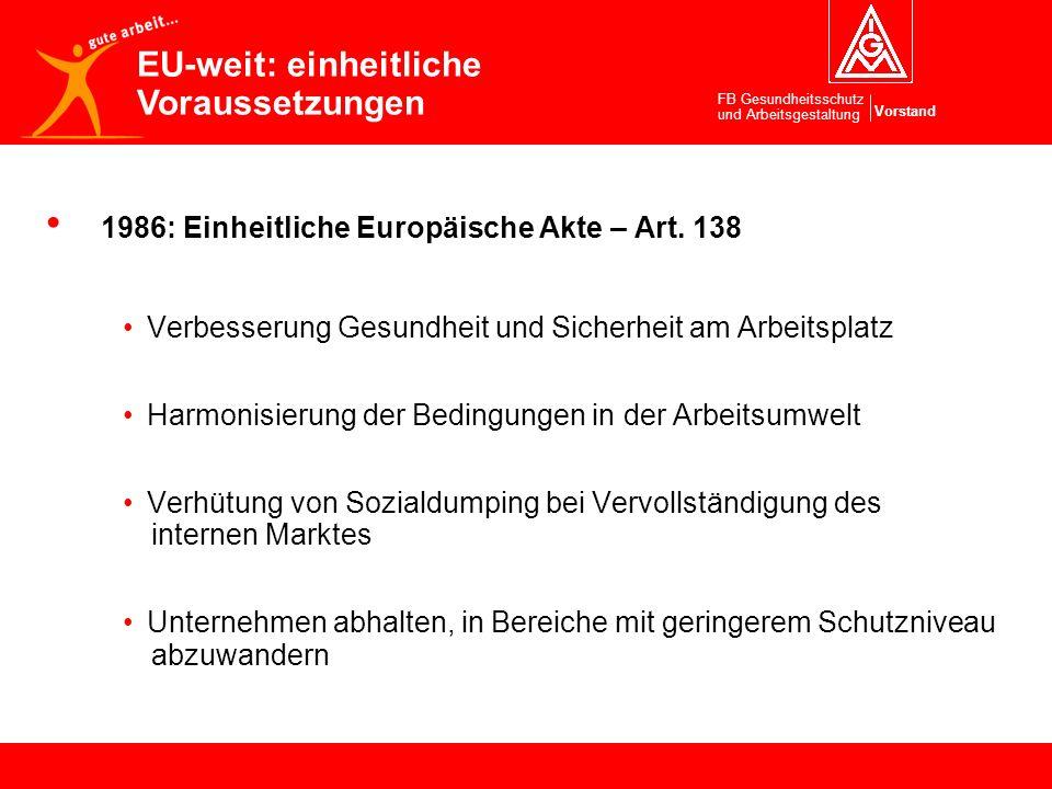 Vorstand FB Gesundheitsschutz und Arbeitsgestaltung 1986: Einheitliche Europäische Akte – Art. 138 Verbesserung Gesundheit und Sicherheit am Arbeitspl