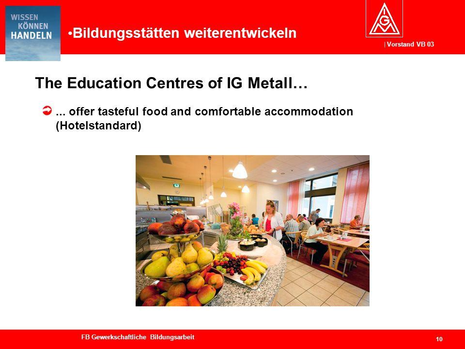 Vorstand VB 03 FB Gewerkschaftliche Bildungsarbeit The Education Centres of IG Metall… 10... offer tasteful food and comfortable accommodation (Hotels