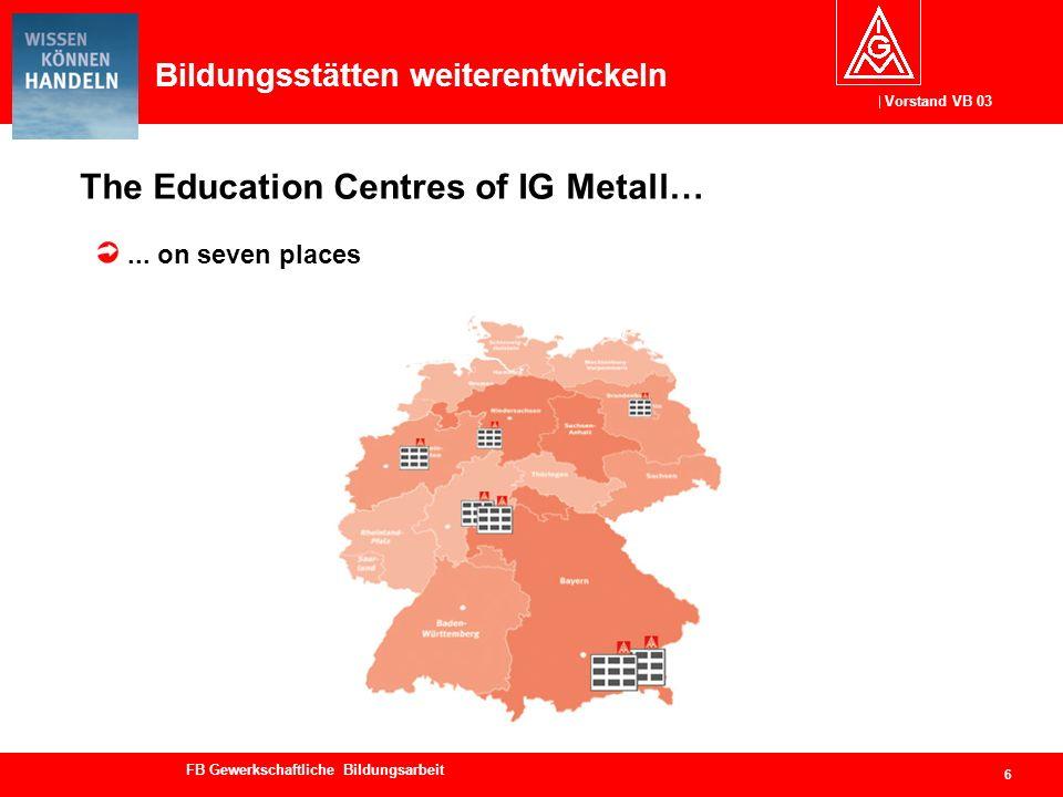 Vorstand VB 03 FB Gewerkschaftliche Bildungsarbeit Bildungsstätten weiterentwickeln The Education Centres of IG Metall… 6... on seven places