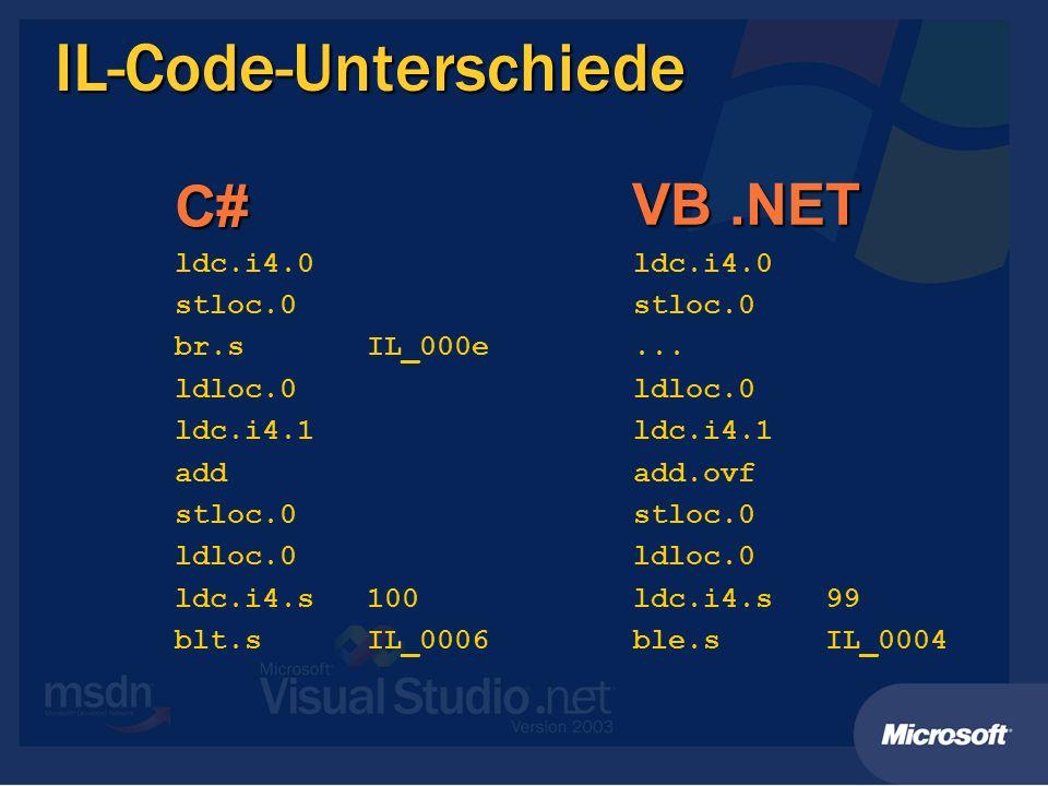 IL-Code-Unterschiede ldc.i4.0 stloc.0 br.s IL_000e ldloc.0 ldc.i4.1 add stloc.0 ldloc.0 ldc.i4.s 100 blt.s IL_0006 ldc.i4.0 stloc.0... ldloc.0 ldc.i4.