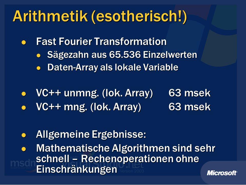 Arithmetik (esotherisch!) Fast Fourier Transformation Fast Fourier Transformation Sägezahn aus 65.536 Einzelwerten Sägezahn aus 65.536 Einzelwerten Da